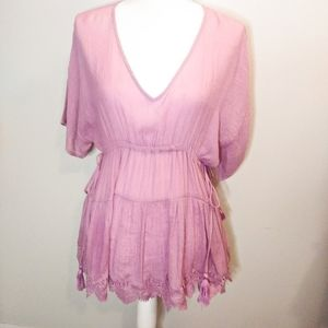 Entro Pink Boho Lace Crochet Trimmed Blouse Small